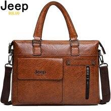 JEEP BULUO sacs à bandoulière en cuir pour hommes, sac à main pour 13 pouces mallette daffaires de marque célèbre de styliste pochette dordinateur, sac à main de voyage 6013