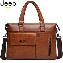 Ünlü tasarımcı JEEP BULUO marka erkek iş evrak çantası PU deri omuz çantaları 13 inç Laptop çantası büyük seyahat el çantası 6013