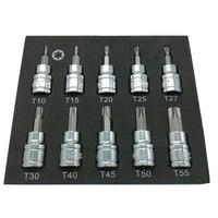 3/8 인치 드라이브 슬리브 스타 키 드릴 세트 크롬 바나듐 스틸 압력 배치 슬리브 도구 슬리브 세트 T10-T55 드릴 소켓 렌치
