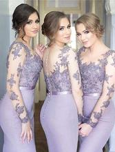 robe demoiselle d honneur Lavender Lace Bridesmaid Dress Long Sleeves Guest Wedding Party Elegant Sheath Gowns