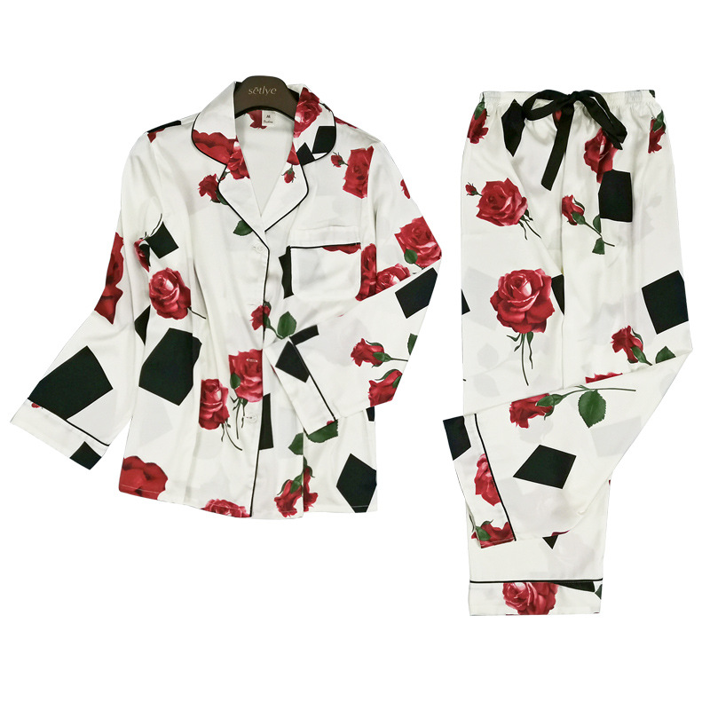Korea Style Fashion Pajama Sets Women Long Sleeve Casual Floral Printed Two Pieces Pants+Tops Sleepwear Women Pyjamas Summer