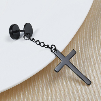 Punk Cool Earrings Men Religious Cross Drop Earrings For Women Dangle Titanium Steel Fashion ear stud Black Long Earrings Gifts image