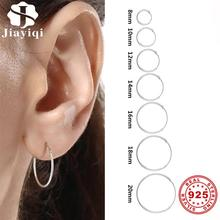 Simple Style Hoop Earrings Smooth 925 Sterling Silver Circle Earrings Women Girl Wedding Party Gift Trendy Female Fine Jewelry