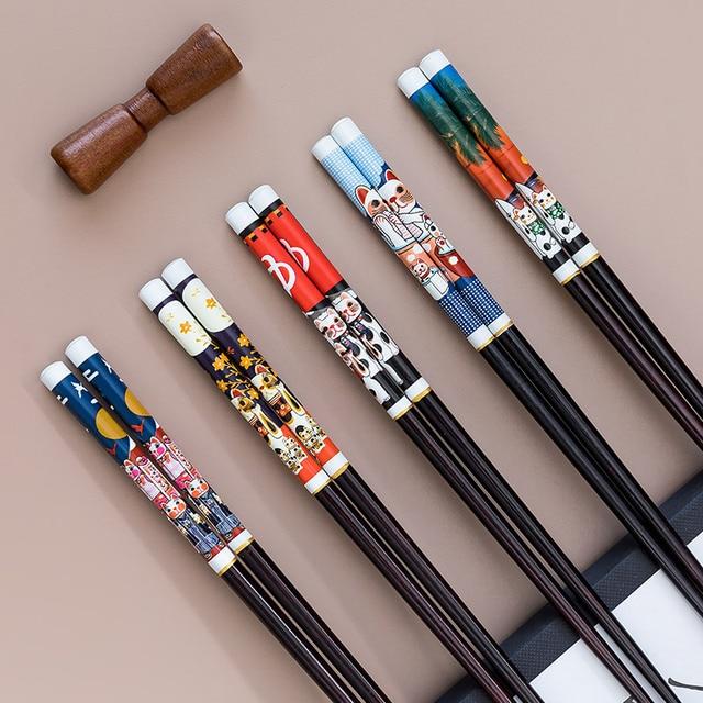 Фото палочки для еды 5 пар китайские японские деревянные бамбуковые цена