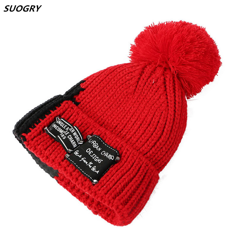 New Winter Warm Hat Female Fashion Skullies Beanies Thick Knitted Fur Hat For Woman Lady Pompom Hats Two-tone Design Bonnet Cap