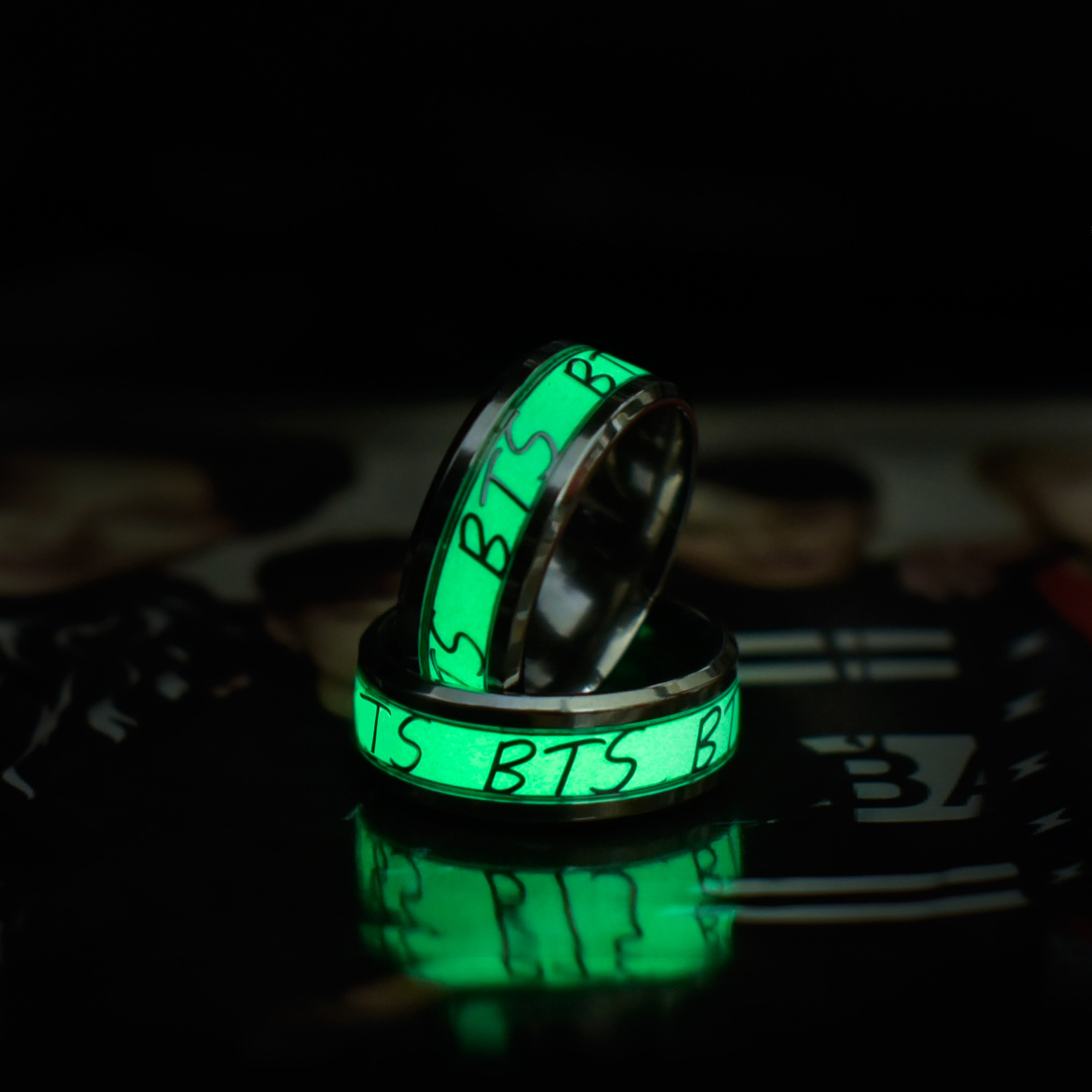 BTS Bulletproof Boys BTS Night Light Ring Birthday Students Couples Rings Men And Women Fluorescent Night Light-Gift