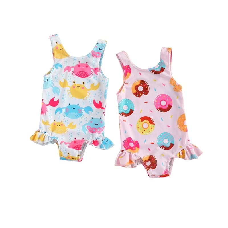 Summer Infant Kids Girls One Piece Bikini Ruffles Cute Crab/Donut Printing Sleeveless Swimwear for Vacation