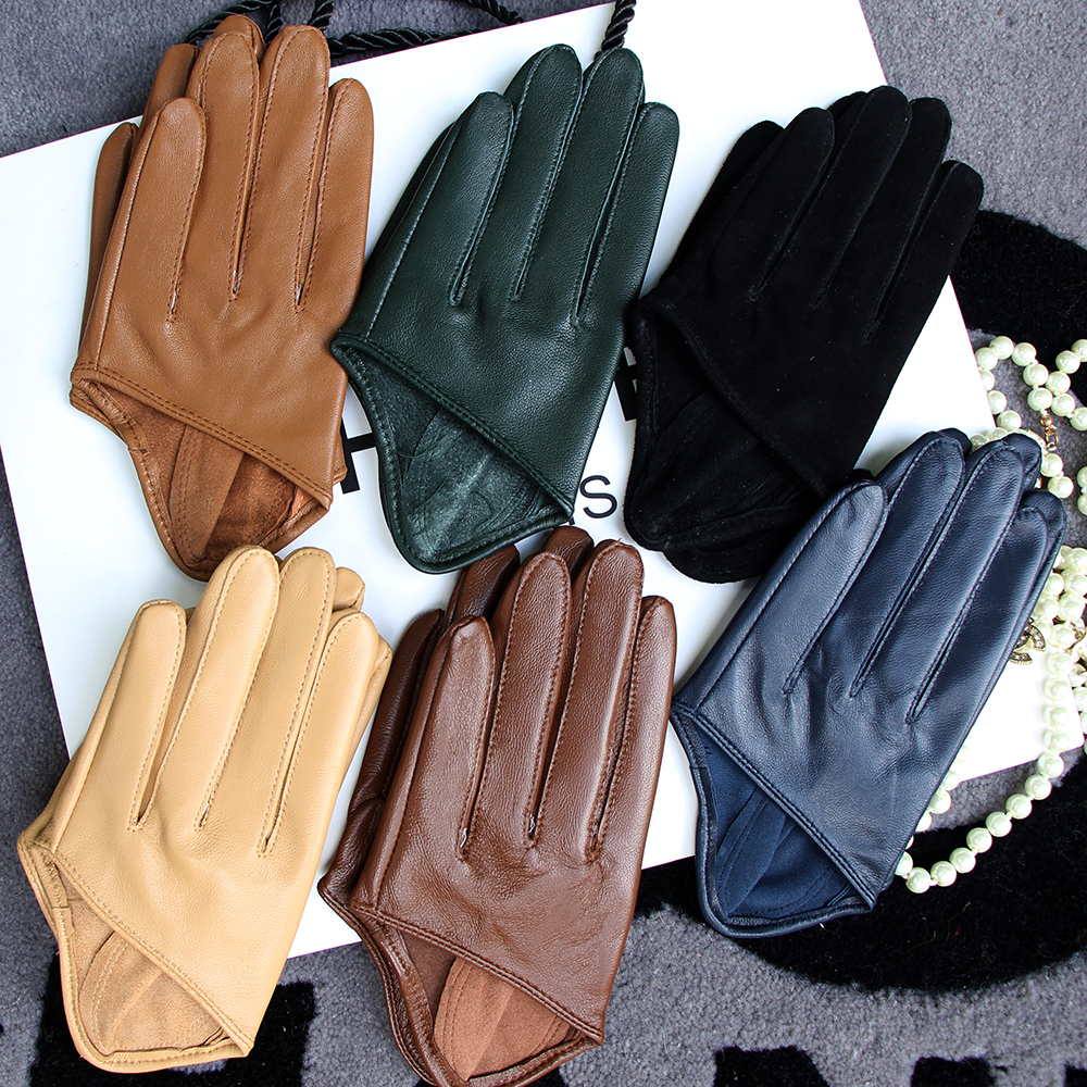 Купить мужские полупальмовые перчатки real leather color патент кожаная