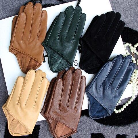 Мужские полупальмовые перчатки real leather color патент кожаная