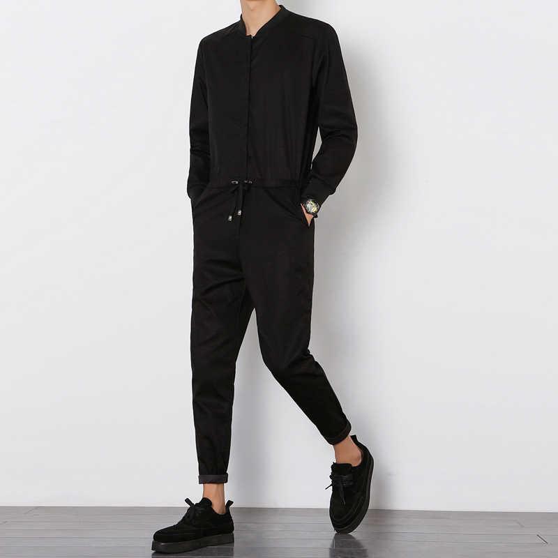 Moda męska kombinezon kombinezon z długim rękawem męskie eleganckie fajne kombinezony Slim Fit spodnie Harem spodnie hip-hop czarny kombinezon