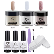 10g Nail Dipping Powder Set French Sugar Summer Manicure dip tray Dry Without Lamp Cure Natural brush Tools Top Base 2 in 1 Gel gelike new arrival winter colors 10g box dipping powder without lamp cure nails dip gel nail polish dropshipping