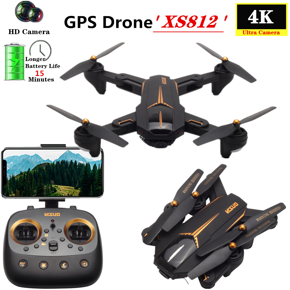 Quadcopter VISUO XS812 RC Drone GPS Drones con 4K HD gran angular Cámara helicóptero altura mantener plegable Quadrocopter juguete