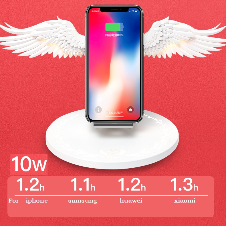 Fast 10W Angel Wings Wireless Charger Compatible IPhone X/XR/XSMAX Samsung Hua Wei Xiao Mi Wireless