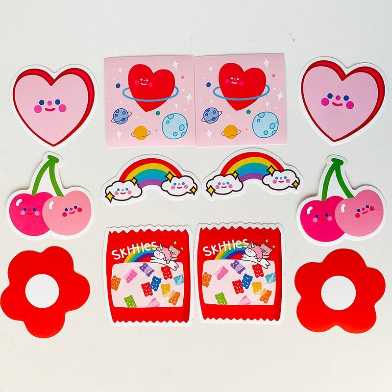 12pcs/Bag Big Size Avocado Rainbow Candy Waterproof Decorative Stickers Diary Album Luggage Decor