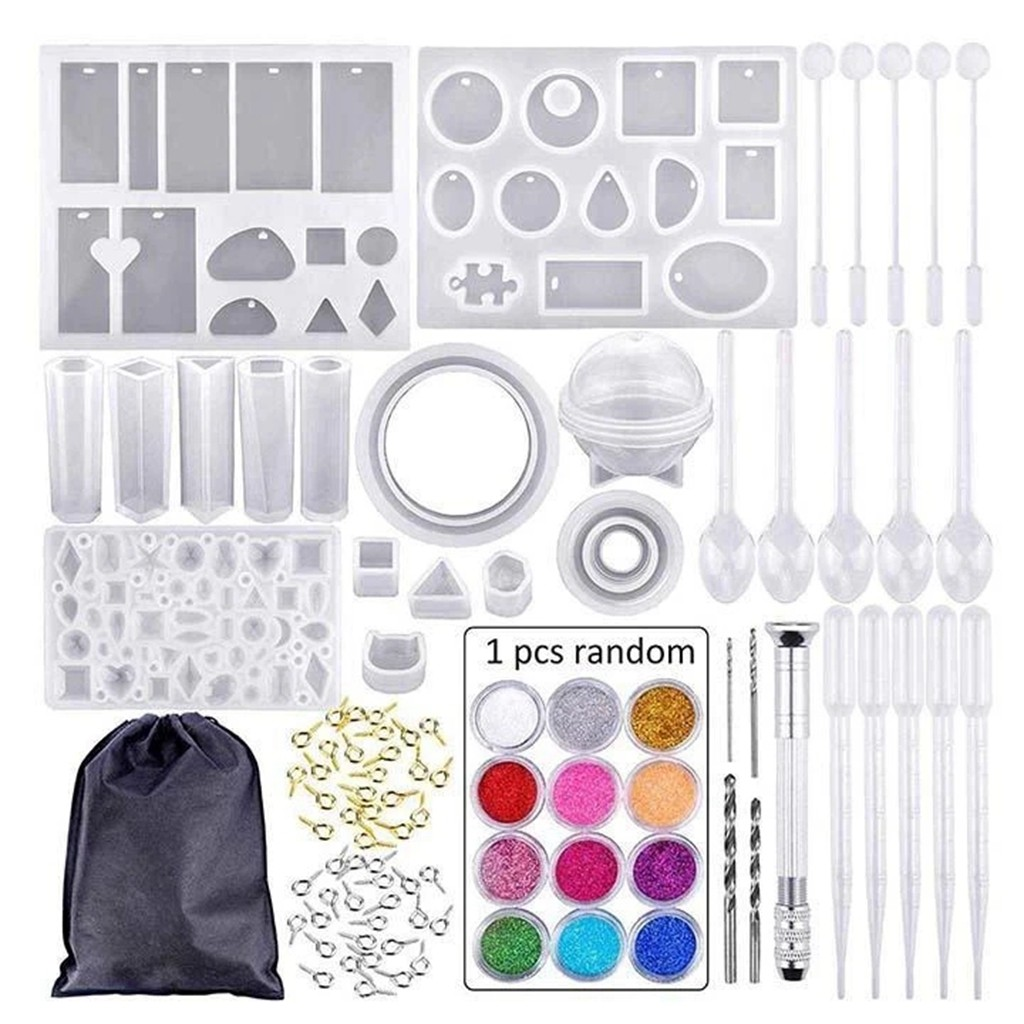 83 Pcs DIY Crystal Glue Jewelry Mold Set Handmade Crystal Glue Silicone Mold Set Epoxy Handicrafts Mould Home Decor