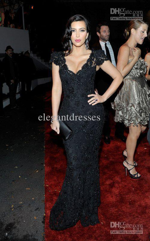 2018 Maxi Long Vestidos Formales Good Design New Fashion Kim Kardashian Black Lace Celebrity Mother Of The Bride Dresses