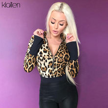 KLALIEN Leopard bodysuit autumn new fashion long sleeve streetwear zipper turtleneck sweater female sexy slim skinny overalls(China)