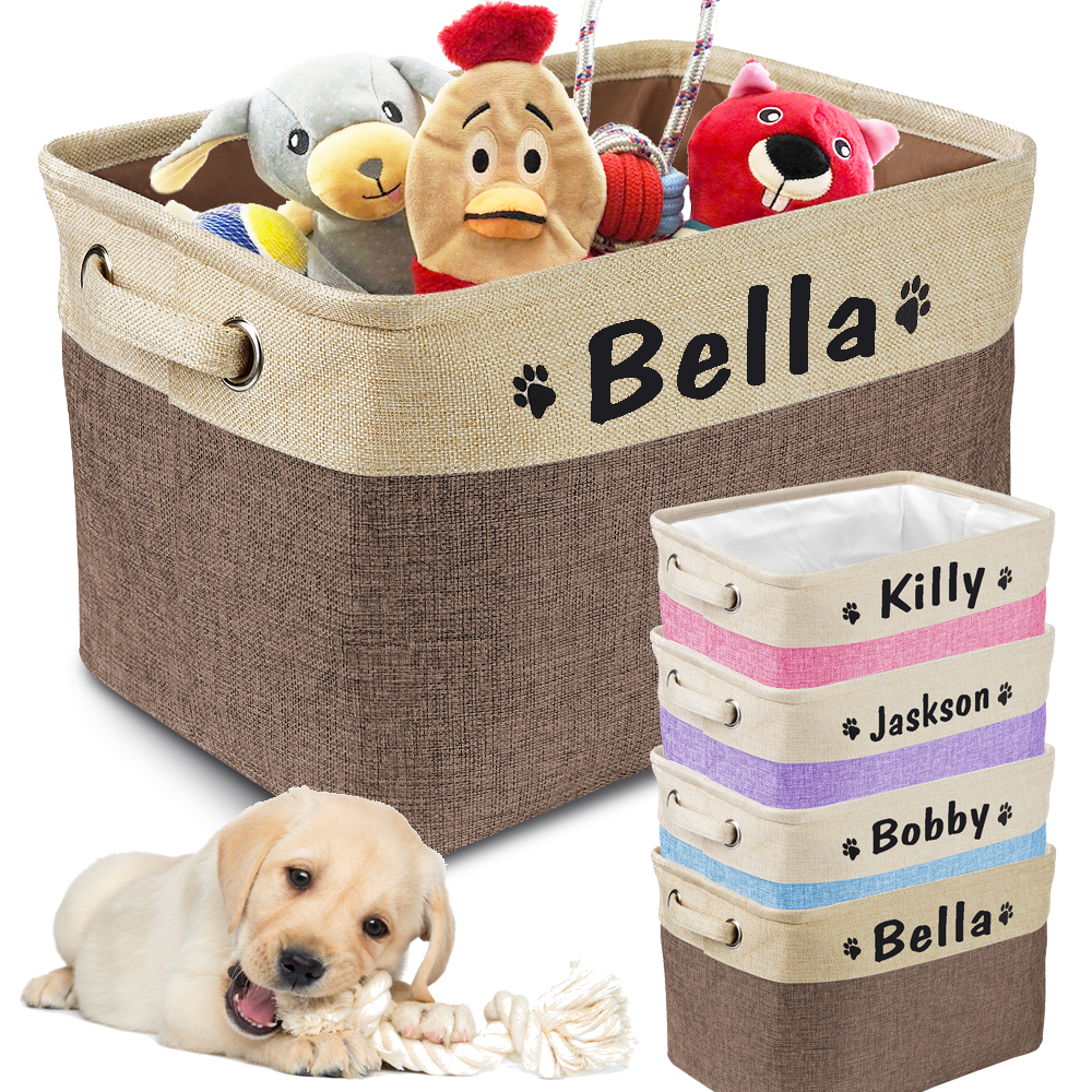Personalized Pet Storage Box Free Custom Dog Storage Baskets For Dog Toys Clothes No Smell Free Print Dogs Name With Cute Paw