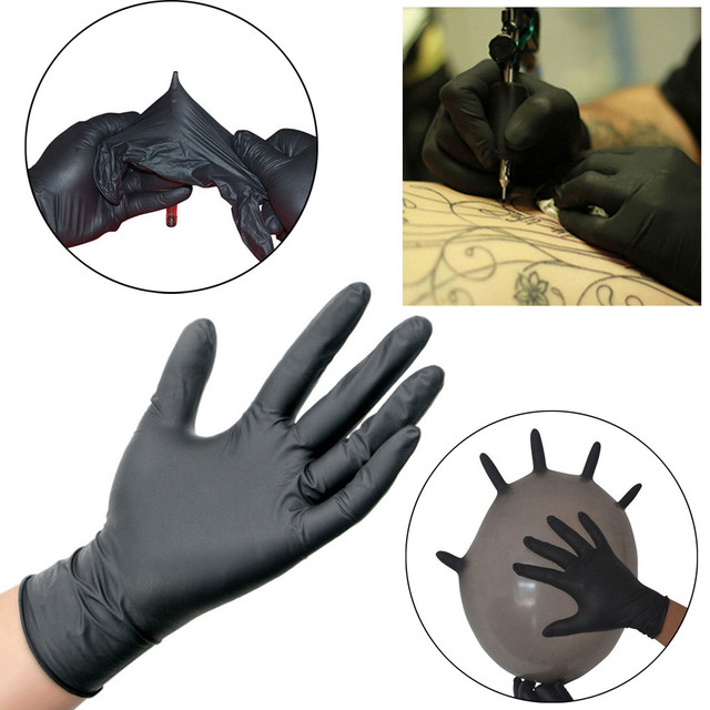 $ US $12.14 100PCS Black Disposable Latex Medical Gloves To Isolate Bacteria And Viruses For Hospital Household Ceaning Disposable Gloves