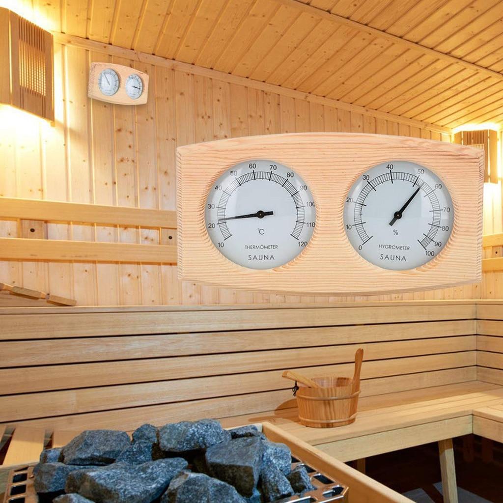 Sauna Thermometer&hygrometer 2 In 1 Wood Hygrothermograph Sauna Room Accessories Sauna Wooden Indoor Thermometer Hygrometer #LR4