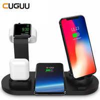 10W Qi Wireless Caricatore della Stazione Del Bacino 4 in 1 Per Il Iphone Airpods Micro USB di Tipo C Stand di Ricarica Veloce 3.0 Per La Mela Orologio Caricatore