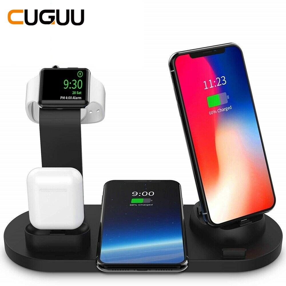 Estación de carga inalámbrica Qi de 10W 4 en 1 para airpods iPhone Micro USB tipo C soporte de carga rápida 3,0 para cargador de Apple Watch
