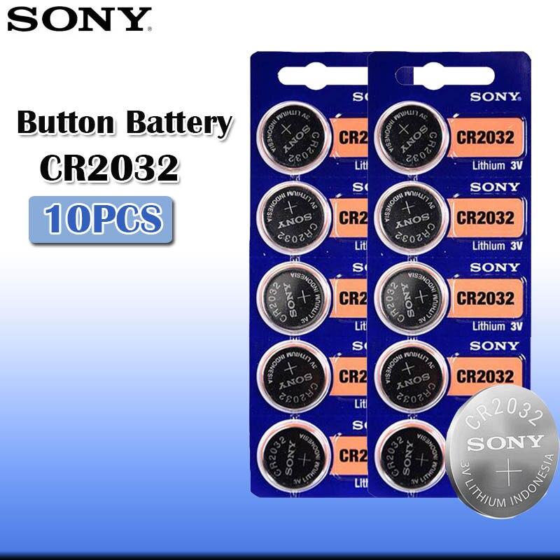 10 шт./лот sony CR2032 3V 100% оригинальный литиевый аккумулятор для часов с пультом дистанционного управления калькулятор CR2032 кнопки батареи для монет
