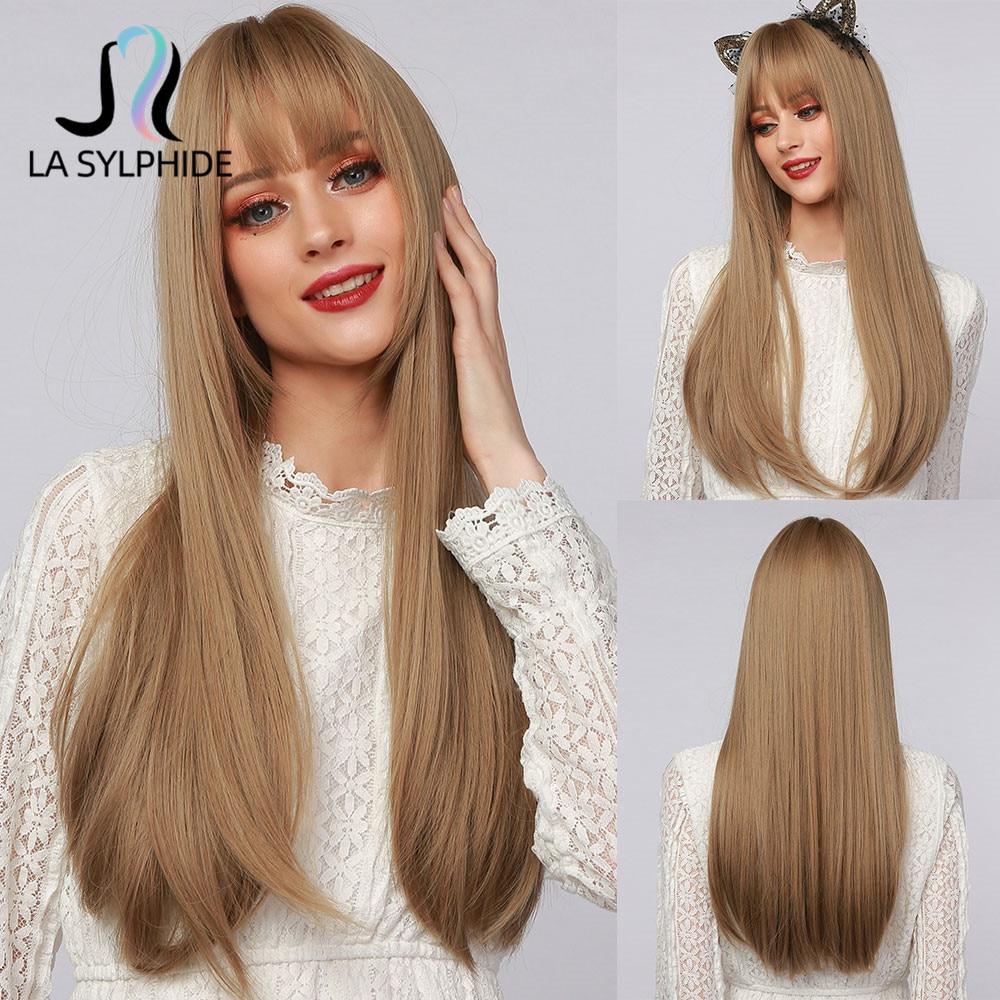 Сильфида Синтетические длинные прямые волосы, парик корень темно-коричневый эффектом деграде (переход от темного к каштановые волосы након...