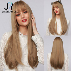 La Sylphide Synthetic Long Straight Wig Root Dark Brown Ombre Brown Hair Tip Dark with Bangs for Woman Wigs Cosplay Halloween