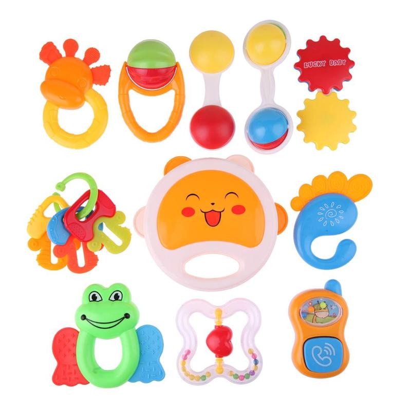 0-12M Cartoon Cute Baby Early Educational Plastic Hand Rattle Toy Music Sound Appease Toys Kids Newborn Gifts