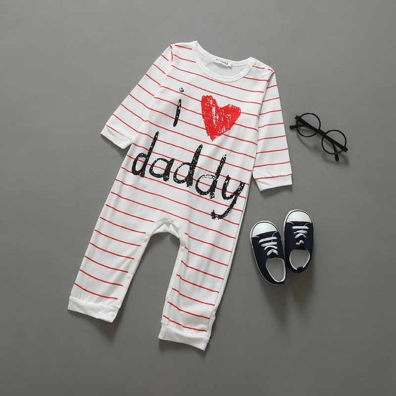 100cm Modis Cotton Baby Romper Cute Boy Girls Long Sleeve Letter Love Mom Dad Clothes Kid Newborn Infant Pajamas Outfit Clothing