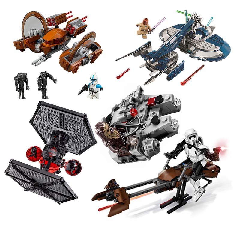 New 1pcs StarWars Spaceship Microfighters AT-ST Fighters Building Blocks Bricks Toys With Legoinglys 10893 10894