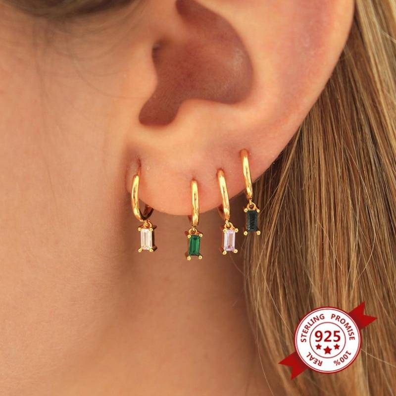 Minúsculo encantador 925 prata esterlina pequenos brincos de argola para mulher branco/preto/verde/roxo cor cz gota aros minimalista jóias