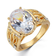 Women's Ring Classic Openwork Carved Gold Finger Ring Oval Transparent Large Zircon Lady Engagement Ring Anniversary Gift(China)