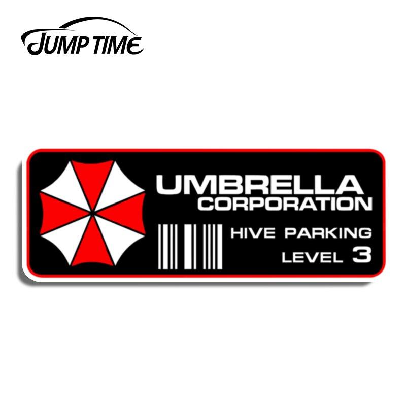 Jump Time 13cm X4.6cm For Umbrella Corporation Hive Parking Level 3 Resident Evil Vinyl Decal Sticker PAIR Window Car Decoration