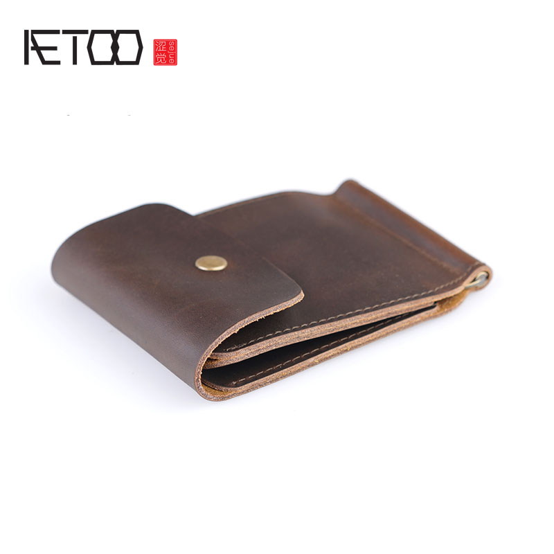 AETOO Original Handmade Wallet Male Mad Horse Leather Wallet Female Simple Document Folder Graduation Gift