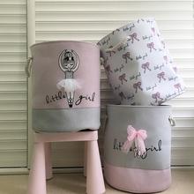 Składany kosz na bieliznę na brudne ubrania różowa baletnica zabawki kosze organizator do torby dzieci przechowywanie w domu organizacja prania tanie tanio OUSSIRRO Odzież Tkaniny Pościel WT678 Ekologiczne Składane