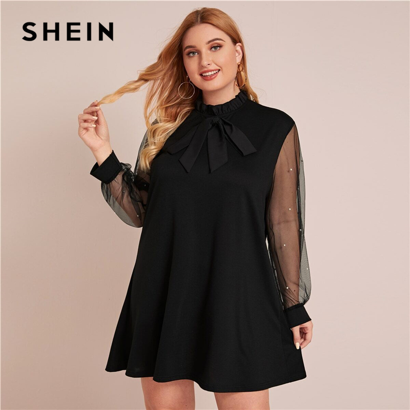 SHEIN Plus Size Tie Front Frill Trim Mesh Panel Tunic Dress Women Spring Pearls Beaded Stand Collar Elegant Mini Cute Dresses