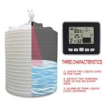 خزان المياه السائل عمق مستوى اللاسلكية بالموجات فوق الصوتية متر تدفق الاستشعار رصد عدة LCD عرض درجة الحرارة أداة قياس