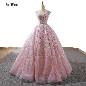 Image 1 - YENWEN מדהים ערב שמלות 2020 פורמליות O צוואר שמלה לנשף כדור שמלת אימפריה שרוולים מסיבת Dressabiti דה cerimonia דה סרה