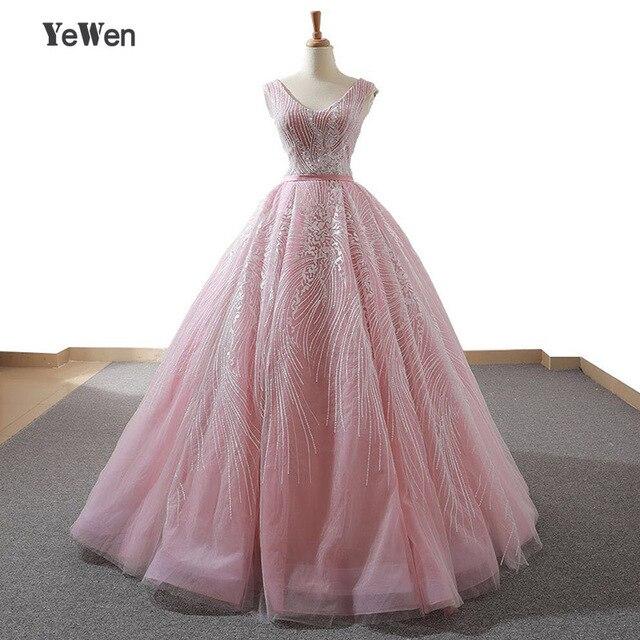 YENWEN מדהים ערב שמלות 2020 פורמליות O צוואר שמלה לנשף כדור שמלת אימפריה שרוולים מסיבת Dressabiti דה cerimonia דה סרה