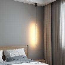 Nordic Modern Led Pendant Lights For Bedroom Bedside Reading Black Straight Hanging Lamp Living Room Suspension Luminaire