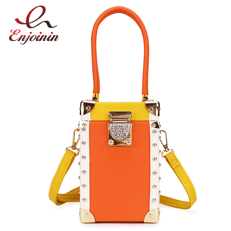 Good Quality Luxury Diamond Buckle Stitching Color Box Style Female Handbag Shoulder Bag Crossbody Mini Bag Shoulder Bag Totes