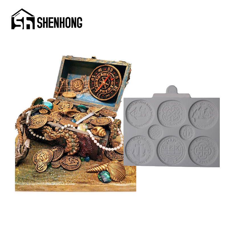 SHENHONG Treasure Coins Mould Clay Pan Cake Decorating Fondant Silicone Molds GumPaste Craft Fimo Dessert Baking Pastry Form|Clay Extruders|   - AliExpress