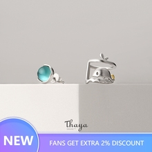 Thaya Asymmetric Blue Whale Sea Earrings 925 sterling silver Original Design Jewelry for Women Fashion Gift