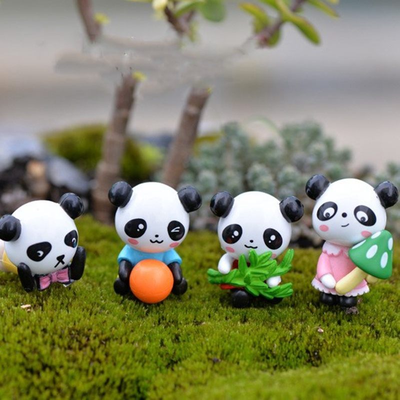 4pcs/set Cartoon Cute Mini Panda Dolls Figma Anime Figure Succulent Ornaments DIY Creative