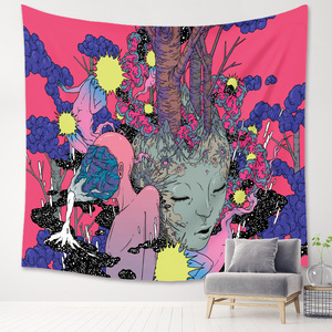 Cilected New Psychedelic Planet Tapestry Living Room Bedroom Decoration Wall Tapestry Color Hippie Wall Hanging Background Cloth