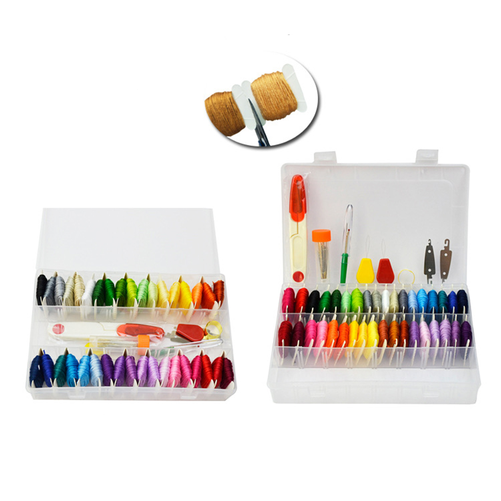 Embroidery Floss Set with Organizer Storage Box 100pcs Rainbow Color Embroidery Threads and 8pcs Metallic Embroidery Floss and Cross Stitch Tool Kits for Friendship Bracelet String Making