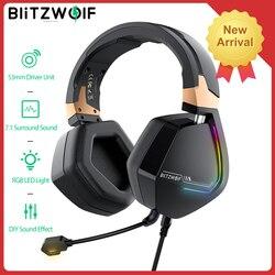BlitzWolf BW-GH2 Игровые наушники USB Проводная 7,1 канал 53 мм драйвер RGB геймер игровая гарнитура с микрофоном для компьютера для PS3/4 набор для всей по...