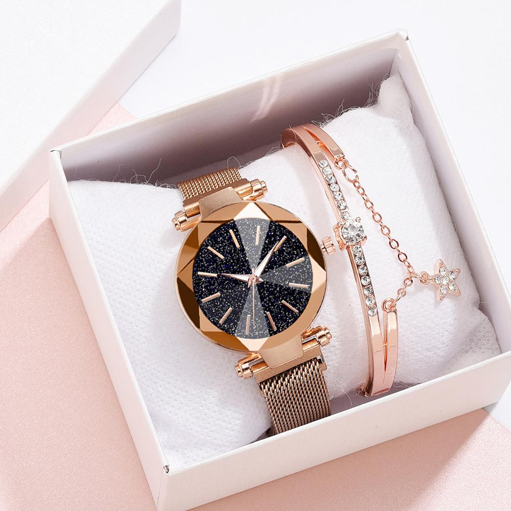Women Bracelet Watches Set Luxury Rose Gold Ladies Magnetic Quartz Wristwatch Starry Sky Minimalist Female Waterproof Clock Gift